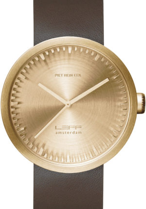 LEFF AMSTERDAM TUBE WATCH LEATHER D42 BRASS/BROWN – LT72022