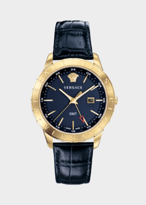 VERSACE BLUE LEATHER UNIVERS GMT MAN WATCH – VEBK00318