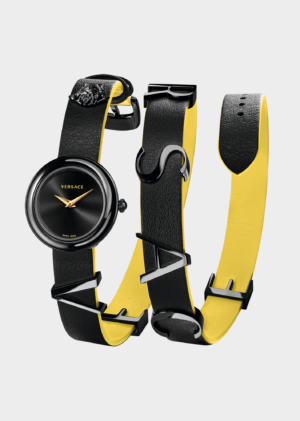 VERSACE V-FLARE BLACK/YELLOW LADY WATCH